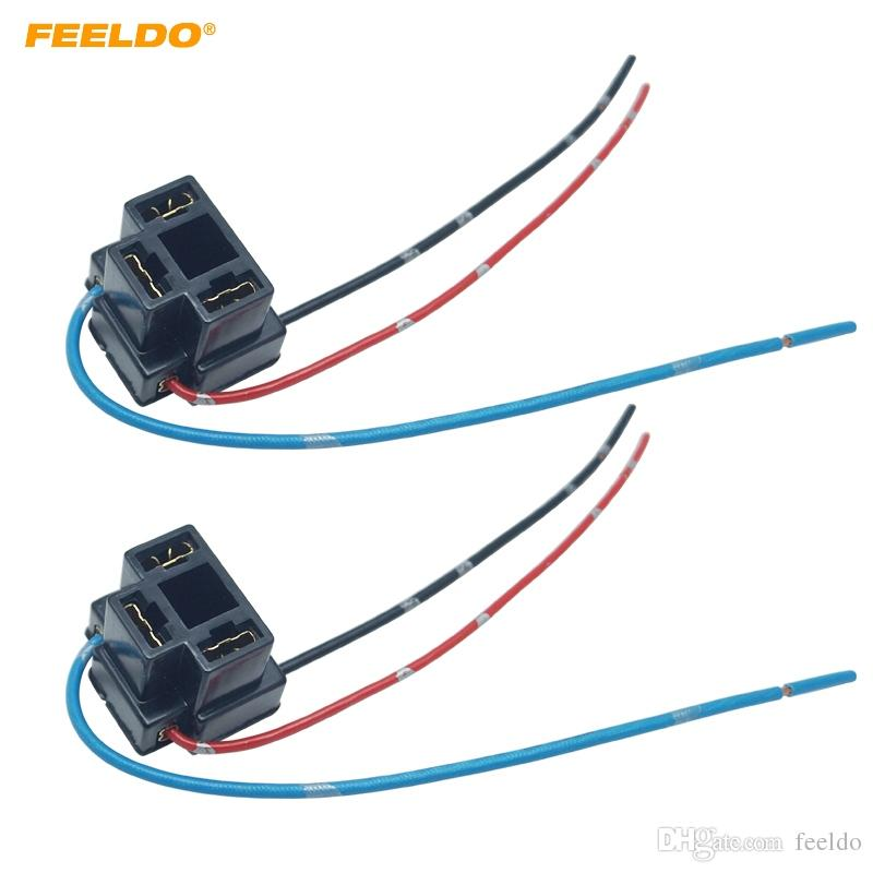 2019 FEELDO Car H4 Headlight Adapter Sockets Wiring Harness ... on h4 plug wiring ground, chevy 2 headlight relay harness, h4 headlight socket wiring diagram, h4 headlight connector 12 gauge, electrical harness, automotive wiring harness, h4 vs 9003 wiring, h4 headlight wiring details, h4 wiring with diode, heavy duty headlight harness,