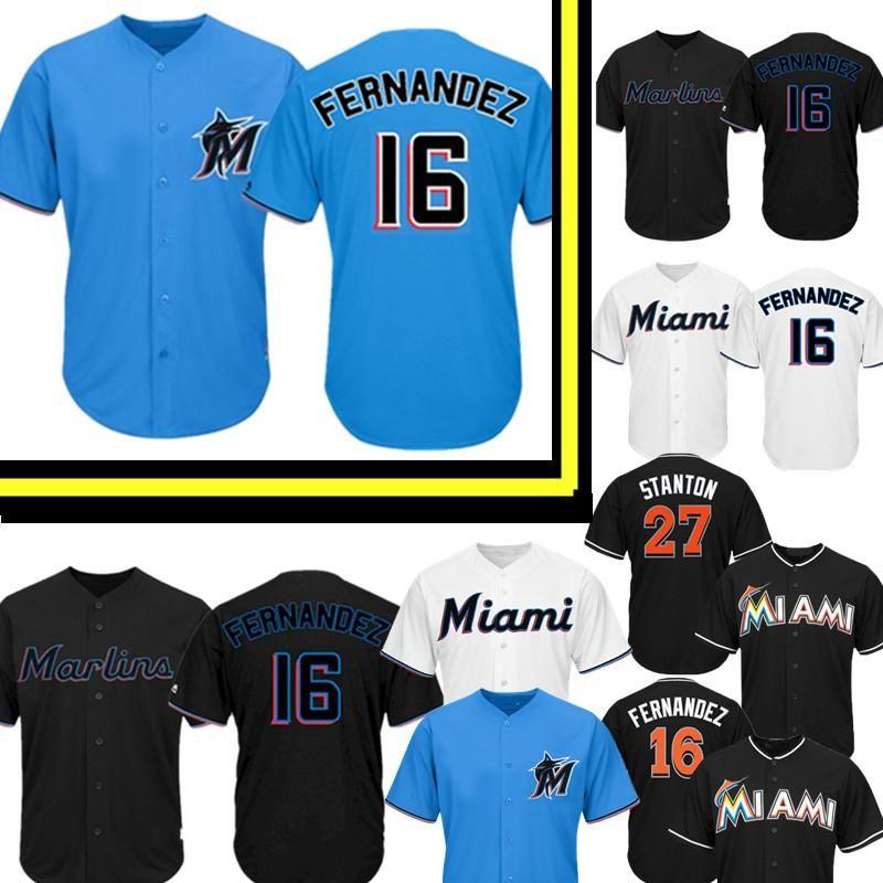 competitive price 989b1 ec599 Miami 2019 Marlins Jersey New 16 Jose Fernandez Baseball Jerseys Mens 27  Giancarlo Stanton Jersey