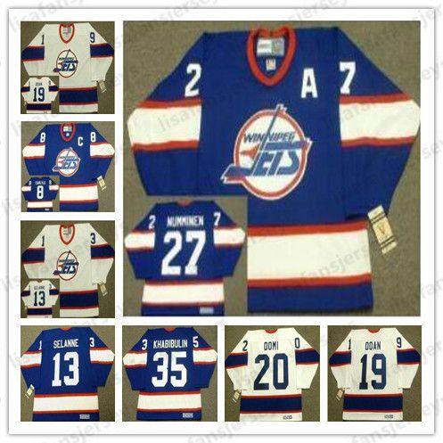separation shoes f2387 4af27 Winnipeg Jets Custom 1993 CCM Vintage Retro Home Hockey Jersey 35 BOB  ESSENSA 13 TEEMU SELANNE 20 TIE DOMI Home Cheap Retro Hockey Jersey
