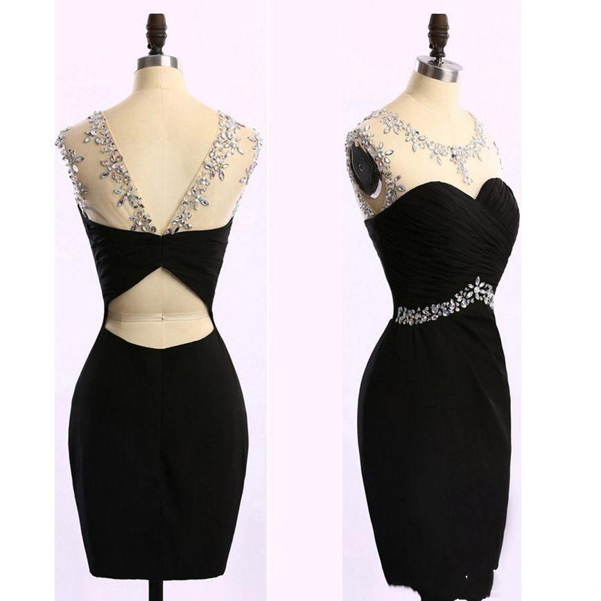 2019 Sexy Short Black Pencil Prom Dresses Sheer Neck Crystal Knee