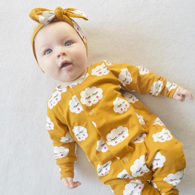 8f4aa3169621e 2019 2018 Fashion Baby Boy Girl Clothes Yellow Baby Rompers Long Sleeve Newborn  Infant Jumpsuit Cloud Pattern Baby Clothing Outfits Y18120601 From ...