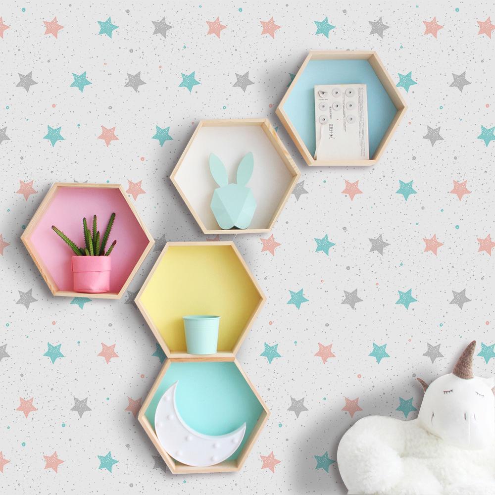 Mode Pvc Selbstklebende Tapete Für Kinderzimmer Drucken Rosa Blau Stern  Wasserdichte Wandaufkleber Wohnkultur