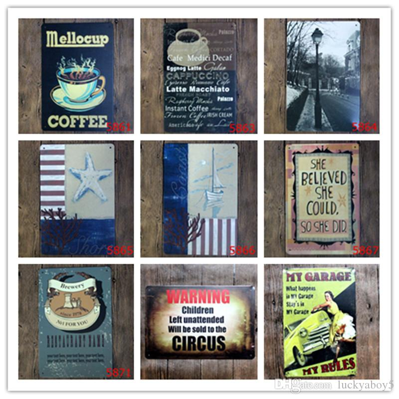 Coffee Shore Coast Brewery Warning Garage Retro Metal Tin Signs Home Bar  Garage Gas Station Pub Cafe Hotel Living Room Decor Wall Art Poster