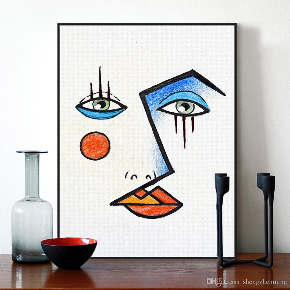 Minimalist Modern Abstract Face Picasso Poster Print Wall Art Pictures Nordic Fashion Style Living Room Canvas Painting Custom