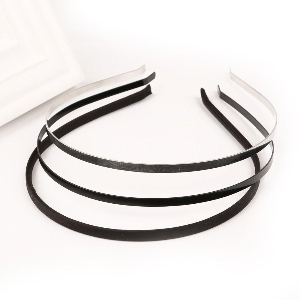 Metal Iron Based Rhodium Black Fabric Headband Hair Band Round Dull Silver  Color 5mm Width DIY Flower Hair Accessories Bridesmaid Hair Accessories  Girls ... a65c913cd10