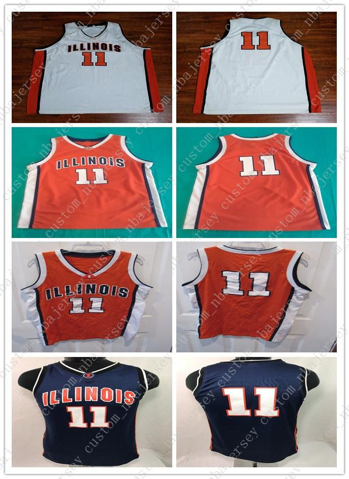 new styles 81c80 9444d Cheap custom Illinois Fighting Illini # 11 Dee Brown Basketball Jersey  Stitched Customize any number name MEN WOMEN YOUTH XS-5XL