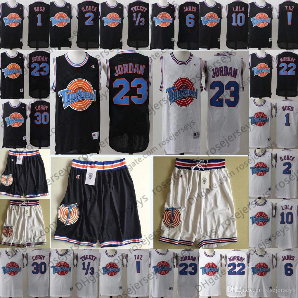 e235ca6e834e 2019 Space Jam Films Jersey Tune Squad Michael TAZ Tweety Bugs Bunny Daffy  Duck Lola Bunny Bill Murray Movie Basketball Curry James Black White From  ...