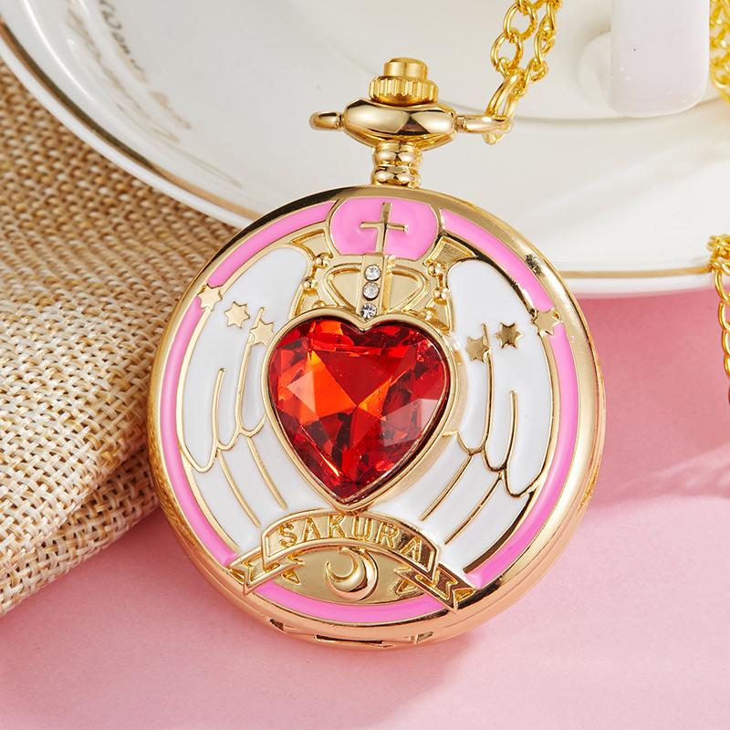 Pink Gold Lovely Sakura Magic Array Pocket Watch Boy Girl Child Cosplay Rhinestone Scepter Quartz Pocket Watches Necklace Chain Watches