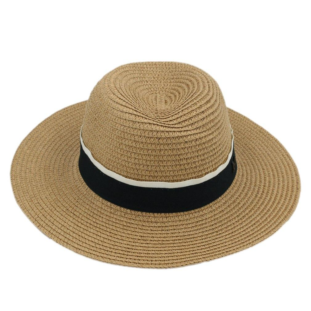 bbf18dbe3175f Fashion Summer Men Women Wide Brim Straw Panama Cap Fedora Hat Boater Cap  Outdoor Beach Sun Hat Top Hat Black M Ribbons Fedora Hats Visor Hats From  Artstyle ...