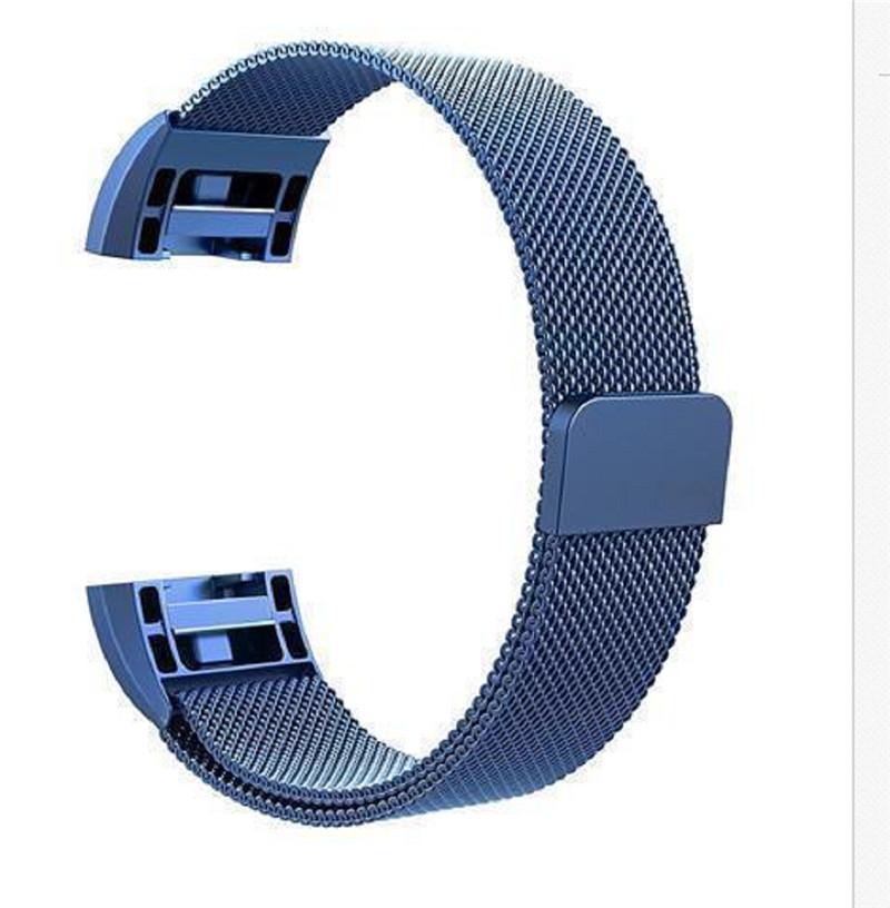 Para Fitbit Carga 2 pulsera de metal inoxidable Milanese magnética Loop Banda Correa