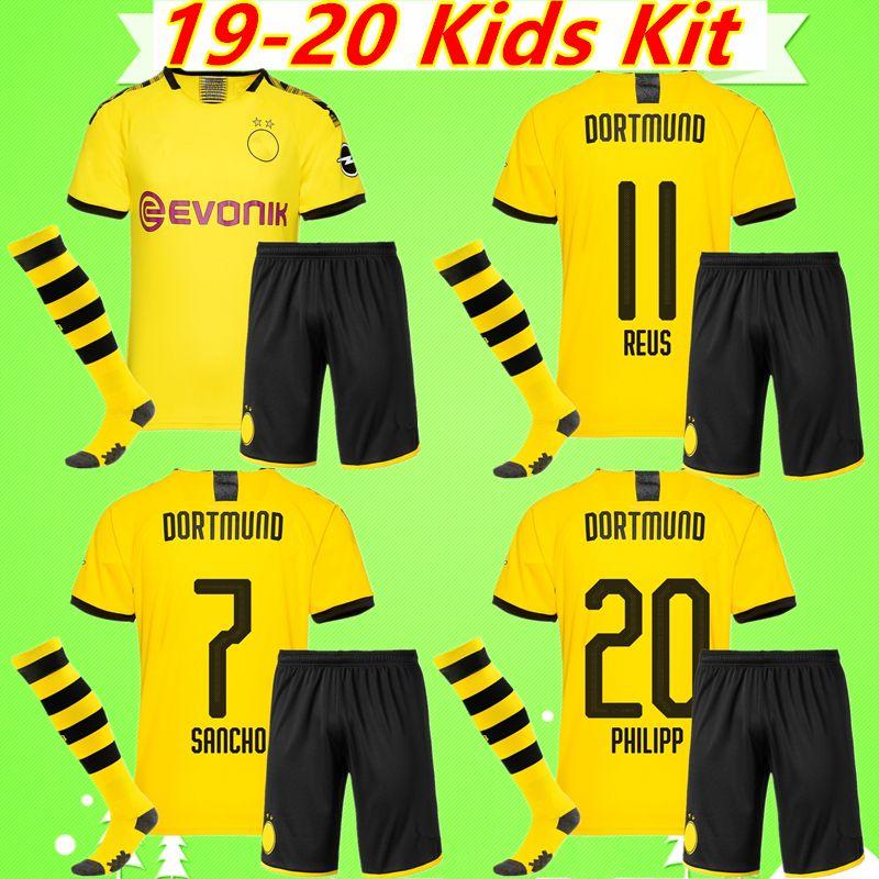 best service 718bc 5e10b 19 20 Borussia dortmund soccer jersey Kids Kit REUS SANCHO PACO ALCACER  Adult maillot PULISIC KAGAWA WITSEL GOTZE 2019 2020 SANCHO Boy Child