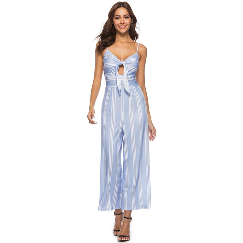8a7d86fca532 2019 Women Wide Leg Jumpsuit Stripe Print Tie Front Spaghetti Strap  Overalls Sleeveless Casual Playsuit Romper Combinaison Femme 2019 From  Jincaile02