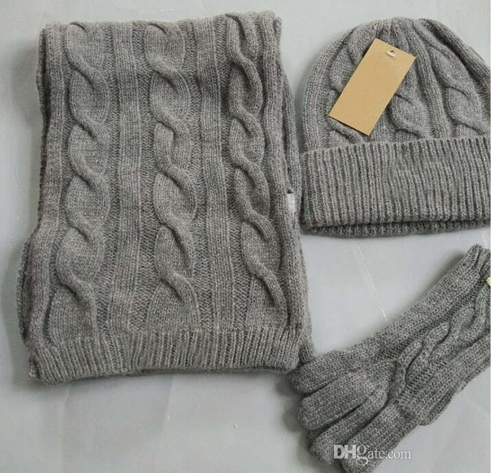 Luxury Brand Designer Hats Scarves Gloves Sets Fashion Scarf Gloves ... a852c1cf896