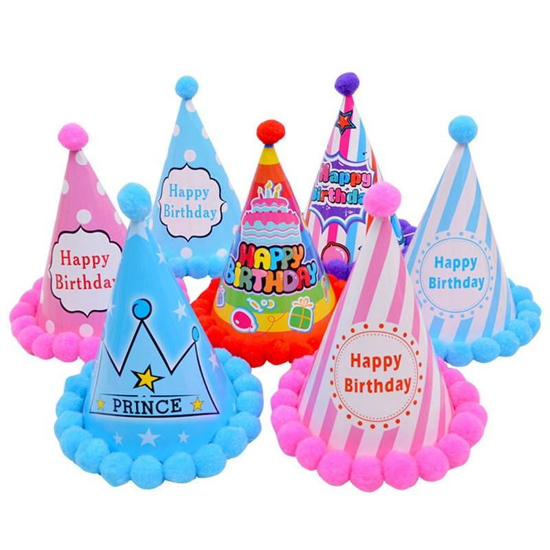 Princess Prince Happy Birthday Pompon Paper Cone Hats Dress Up Girls Boys Birthday Party Xmas Decorations Supplies Baby Kids