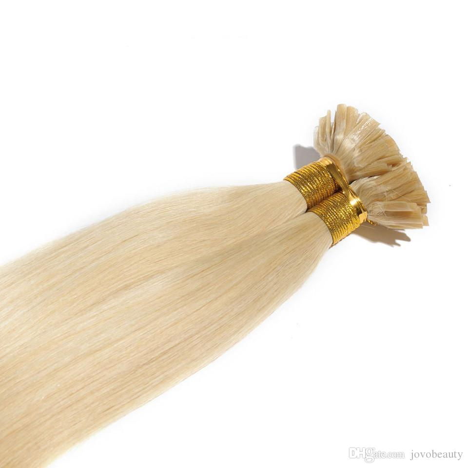 VMAE russe Indian Strand Brown 1 g Natural Blonde droite Pre Double Nail kératine Dessiné U Astuce Virgin Remy Extension de cheveux humains