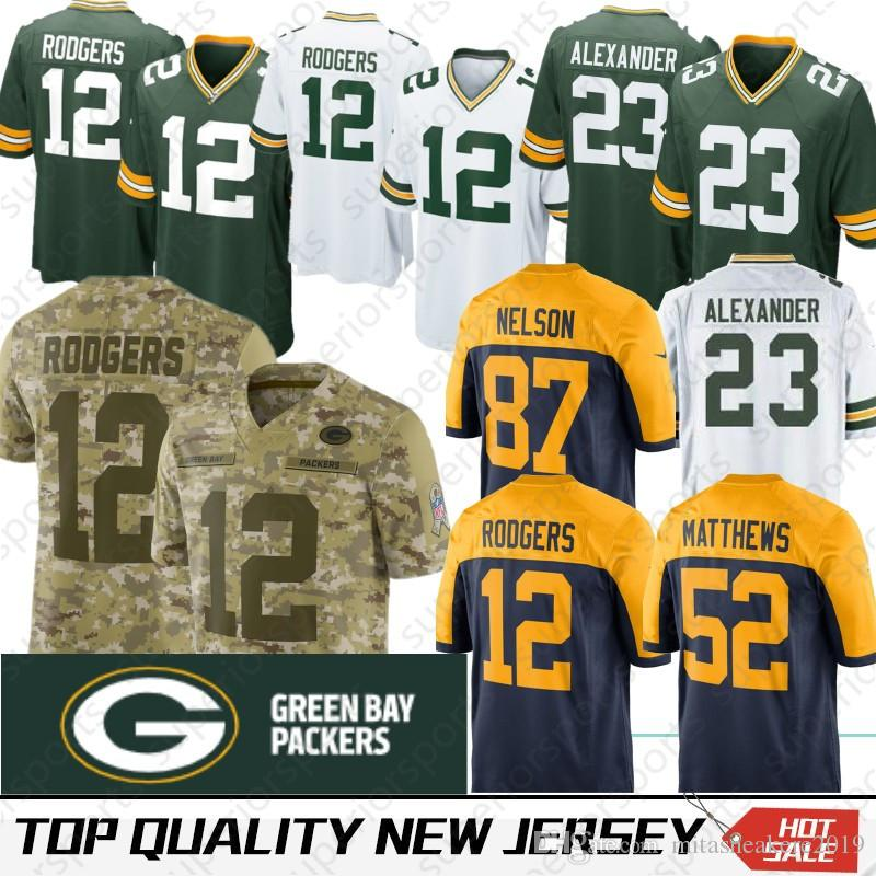 e3a60882b 2019 Stitched Green Bays 17 Davante Adams Packers Jersey 12 Aaron Rodgers  23 Jaire Alexander Favre 52 Matthews 80 Graham 21 Ha Clinton Dix King From  ...