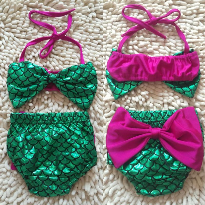 2019 Kid Crianças sereia maiô Big Bow Two-Piece Suits set sexy Baby Girl swimwear cosplay maiôs biquni