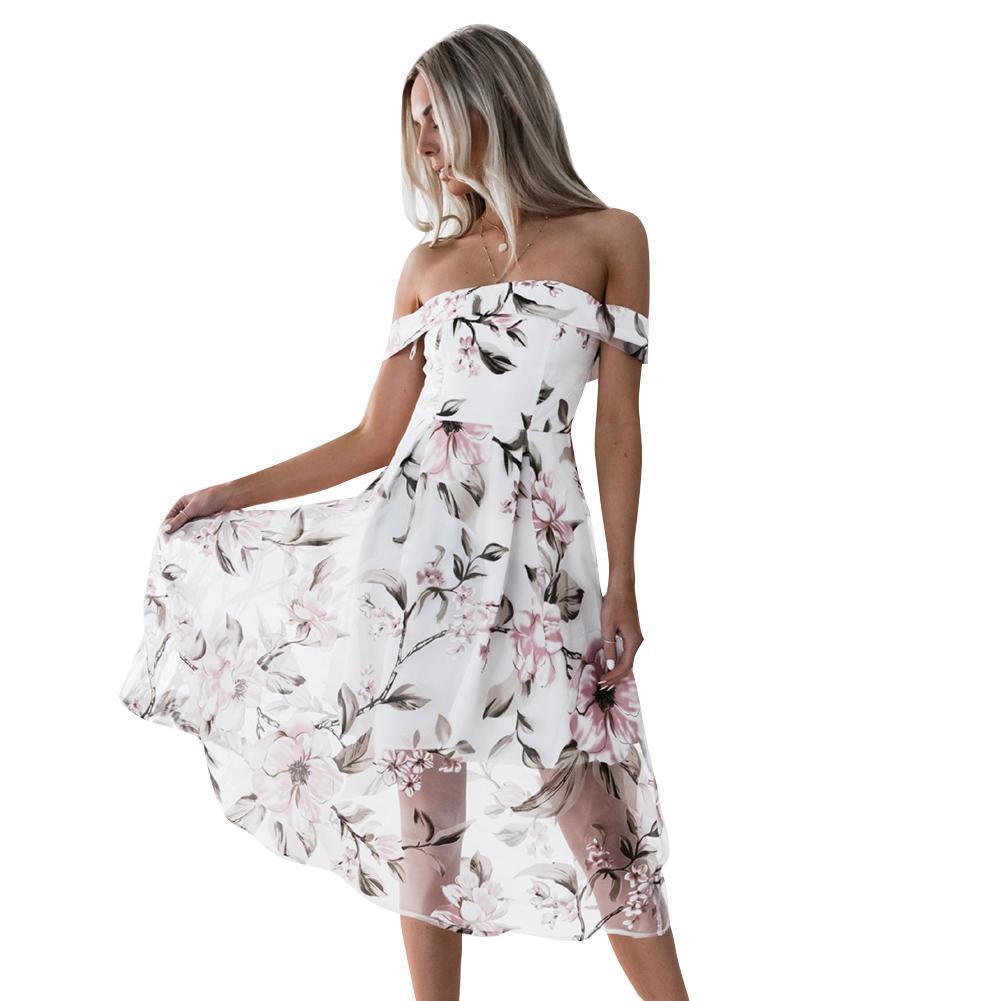 3228a90f24d Elegant Women Organza Dress Off Shoulder Floral Print Summer Dress Backless  Short Sleeve Zip Back Mid Calf A Line Party Dresses Womens Long T Shirt  Dress ...