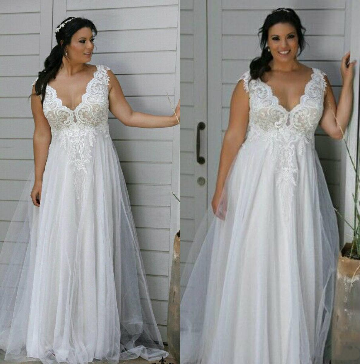 Plus Size Empire Waist Wedding Dress: Discount Plus Size Wedding Dress Empire High Waist Lace