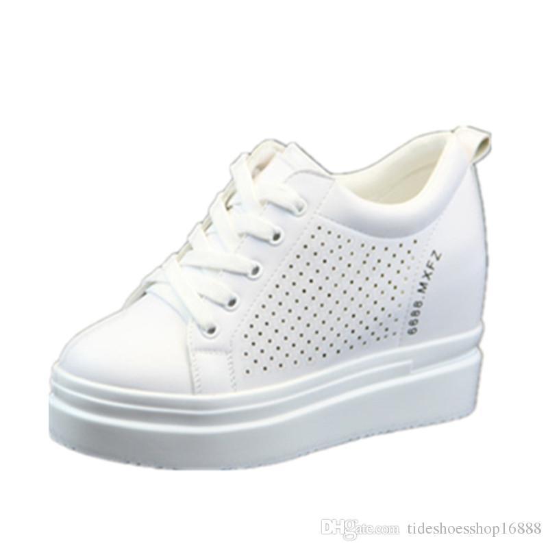 af9ee608f26 White Platform Leather Shoes Hidden Heel 10CM Wedge Sneakers Summer ...