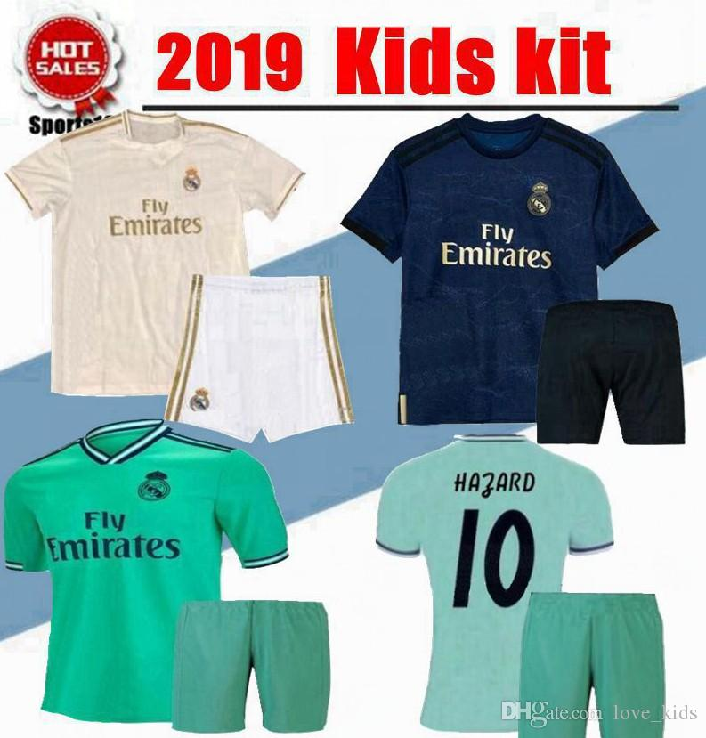 new product e2895 32c35 2020 Kids kit HAZARD Real madrid soccer jerseys 19 20 home ASENSIO BENZEMA  MODRIC RAMOS third green football shirt Boy Child Youth jersey