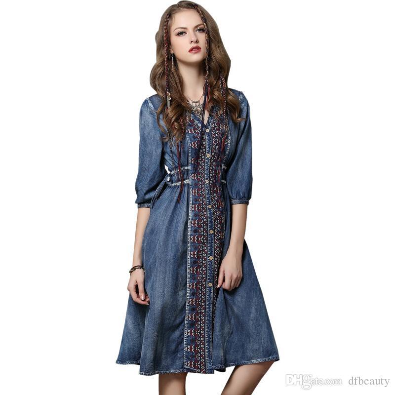Wholesale New Arrival Autumn Women s Dress Large Size V-neck Denim ... 055deed90