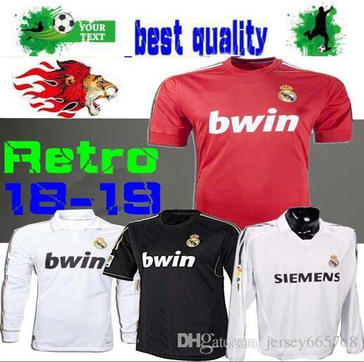 d9c55427e 2019 Retro 2005 06 Real Madrid Home Soccer Football Jersey Short Sleeve  Sergio Ramos KAKA ZIDANE Beckham 05 06 RAUL Long Sleeve Jersey Size S XL  From ...