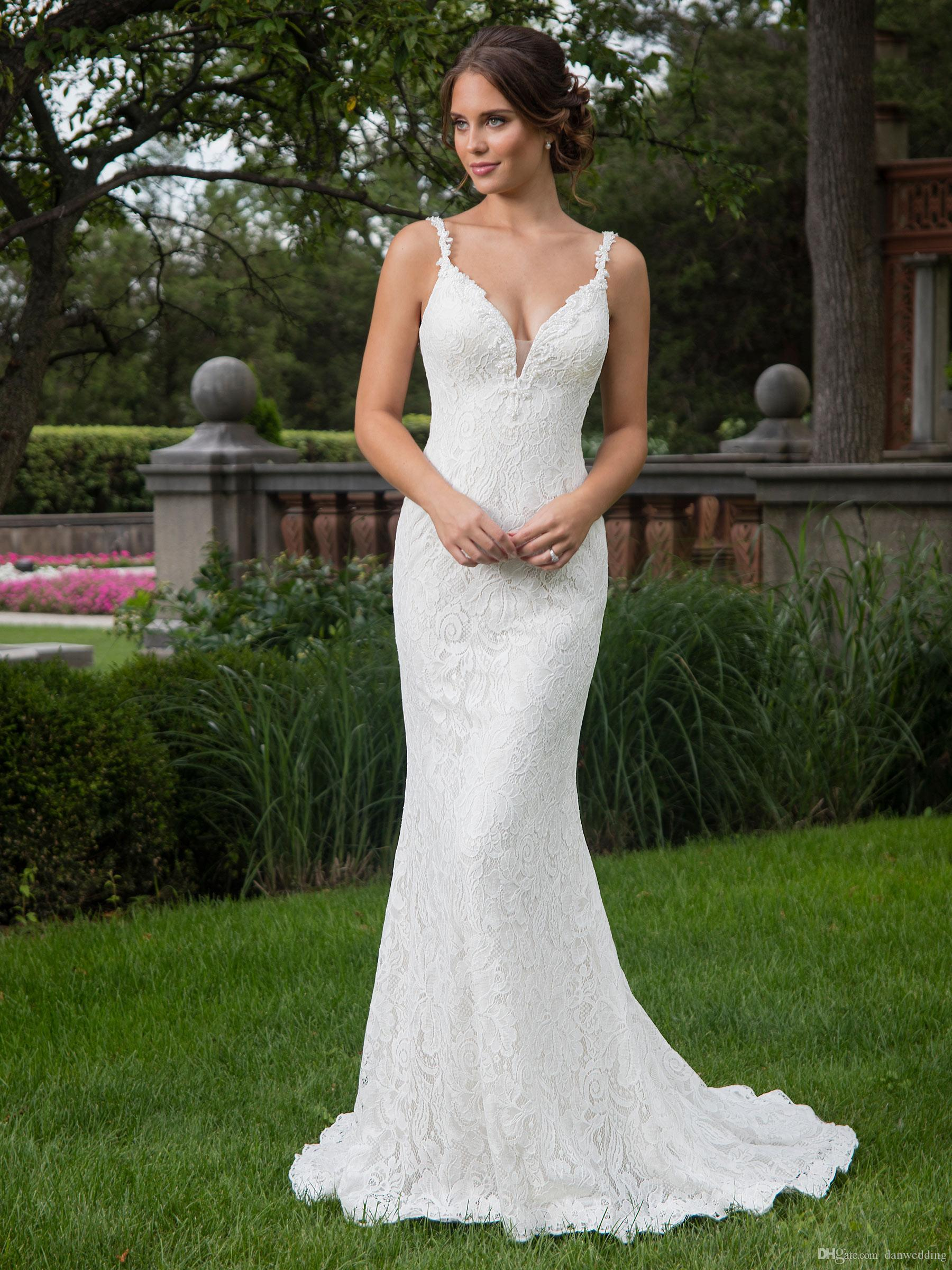 Weiß V Spaghetti Meerjungfrau Pageant Größe Kleider Elfenbein Sexy Benutzerdefinierte Ausschnitt Braut Hochzeitskleider Perlen Brautkleider hxsQCorBtd