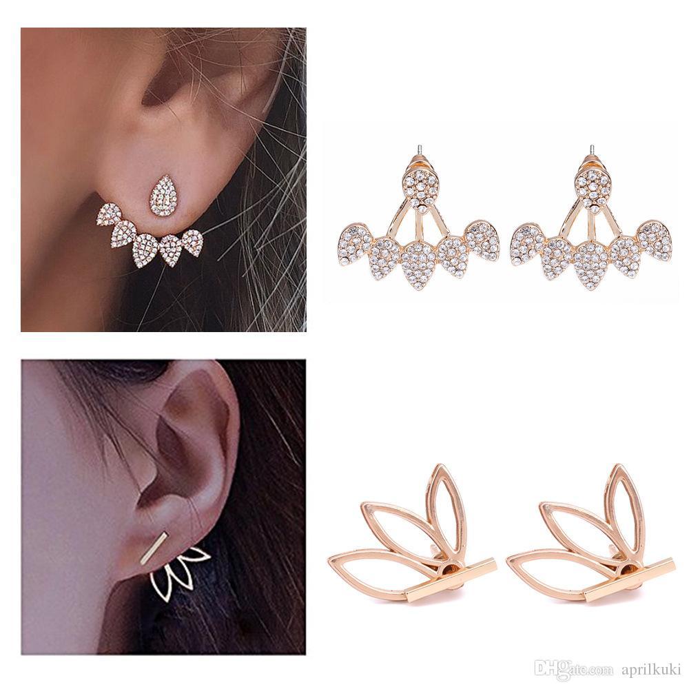 c8068b43c3b1b Pearl Lotus Crystal Flower Stud Earrings For Women Fashion Jewelry Double  Sided Gold Silver Ear Stud Drop Earrings Gift for Party