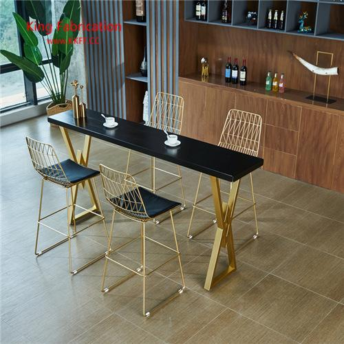 Nordic marble bar table luxury home iron creative long table bar solid wood table