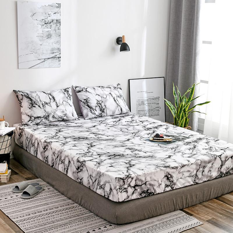 White Black Stone Pattern Bedspread 1pcs 100 Polyester Elastic Bed Cover Fitted Sheet Bed Protect Mattress Dustproof Pillowcase