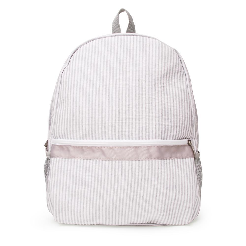 회색 seersucker 배낭 도매 공백 대용량 스트라이프 학교 가방 새로운 색상 학교 선물 책 가방 DOM106031