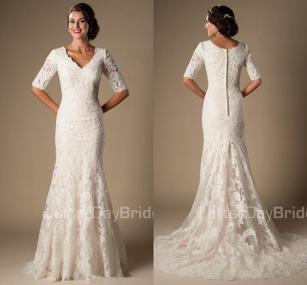 fd9c006a66b06 Ivory Vintage Lace Mermaid Modest Wedding Dresses With Half Sleeves 2019 V  Neck Elbow Sleeves Length Temple Wedding Gowns Vestido De Noiva
