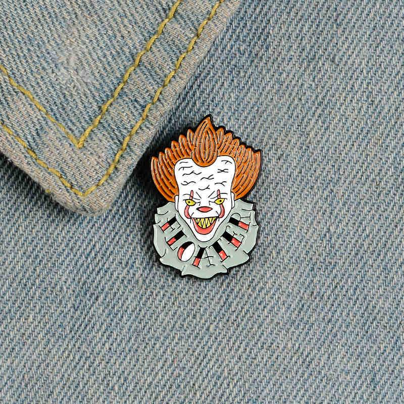 Gotham clown enamel pin Floater horror evil badge brooch Exaggerated punk Lapel Jackets Backpack bag pin Halloween jewerly gift for friend