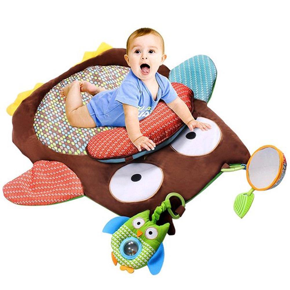 Cute Cartoon Owl Baby Tummy Time Crawling Play Mat Game Pad Pillow Toy