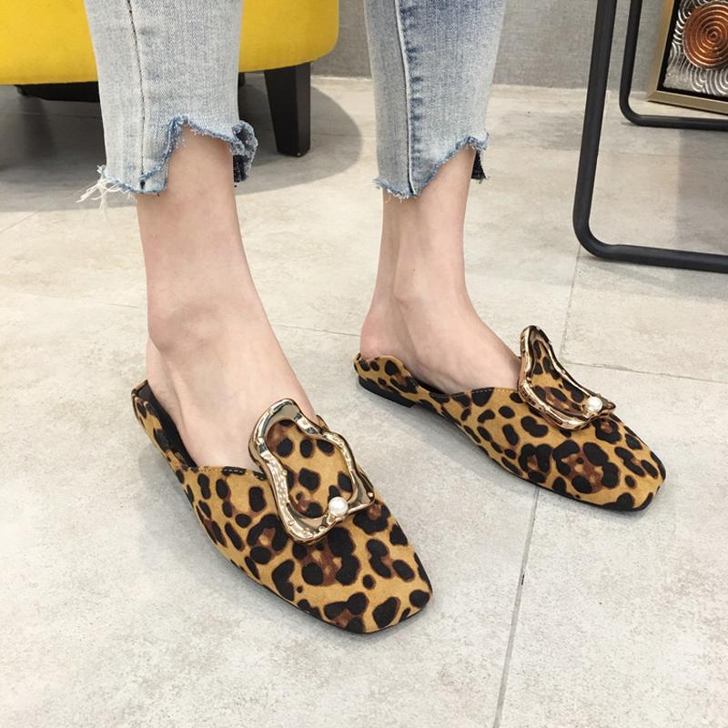 2a6dc9fd5 Metal Decoration Mules Women Leopard Flats Slippers Summer Suede Slides  Square Toe Shoes Fashion Slip On Sandals Black Khaki Mens Boots Winter  Boots From ...