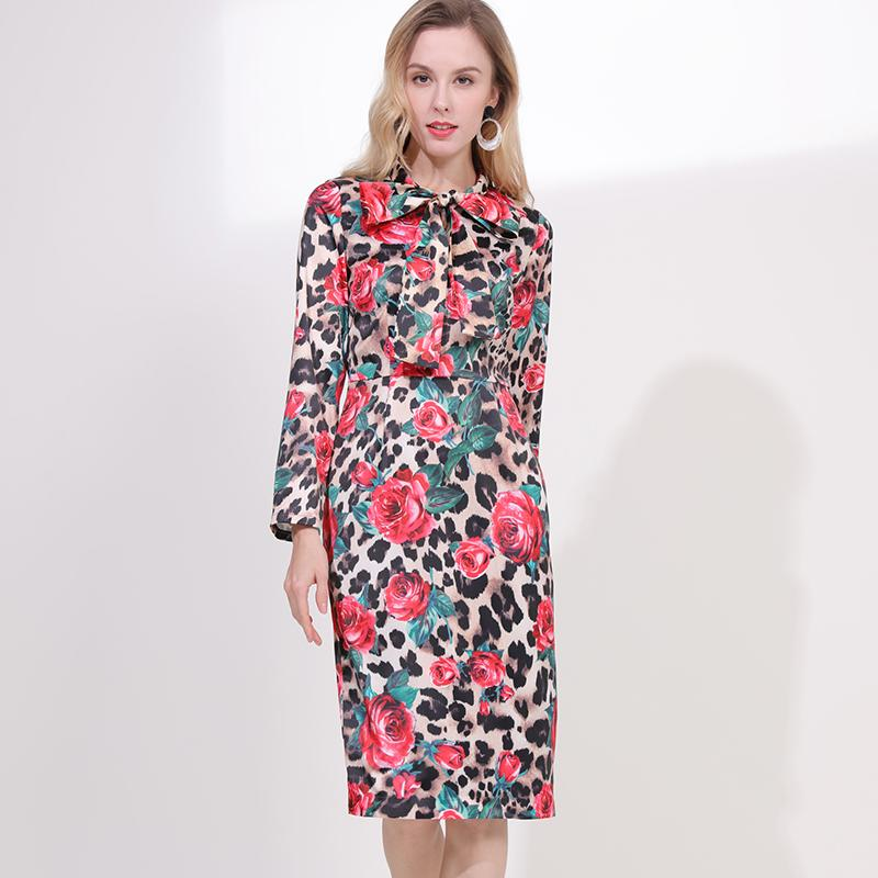 d7439bb6aac 2019 Spring Pretty Rose Leopard Print Women Dress High Quality Fashion Full  Sleeve O neck Bow Knee Length Slim Female Dress Dresses Women Cocktail Party  ...
