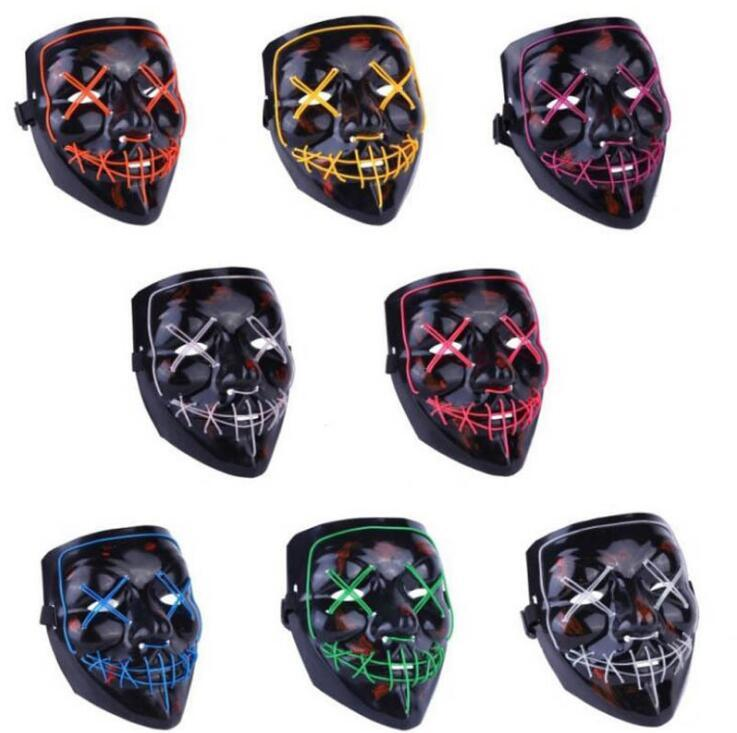 Halloween Mask LED Mask Party Masque Masquerade Masks Neon Light Glow In The Dark Horror Glowing Masker Purge DHL Free 669