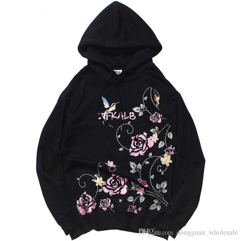 2019 Harajuku Hoodie Sweatshirt Embroidery Rose Men Hip Hop Streetwear Hoodies Floral Cotton Autumn Pullover Hoodie Japan Style