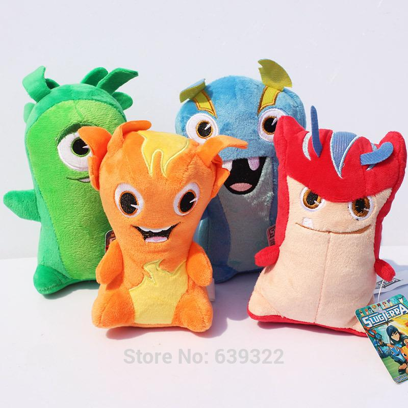 "plush toys New 4pcs/lot 6""15cm Slugterra Plush Toys Stuffed Dolls For Children Gift With Tag Free Shipping"