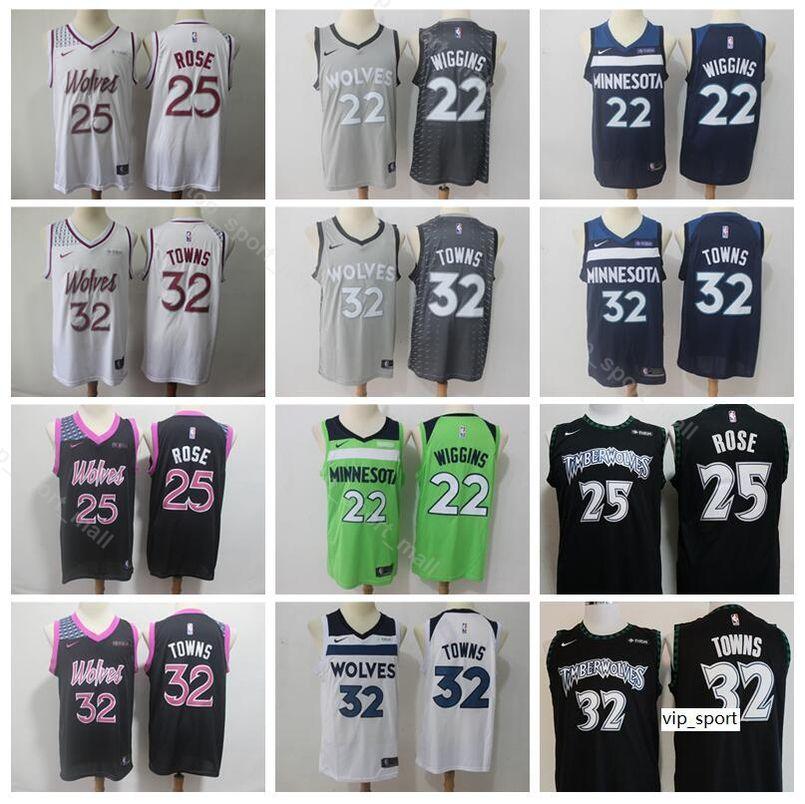 brand new 8bb12 53795 2019 City Earned Edition Derrick Rose Jersey Minnesota Basketball  Timberwolves Karl Anthony Towns Andrew Wiggins Black Green Shirts Uniform