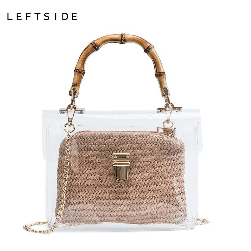 9c8643495cda Designer LEFTSIDE Transparent Bag For Women 2019 Handbag With Bamboo Handle  Summer Small Chain Crossbody Bags Ladies Straw Beach Bags Purses Wholesale  Mens ...