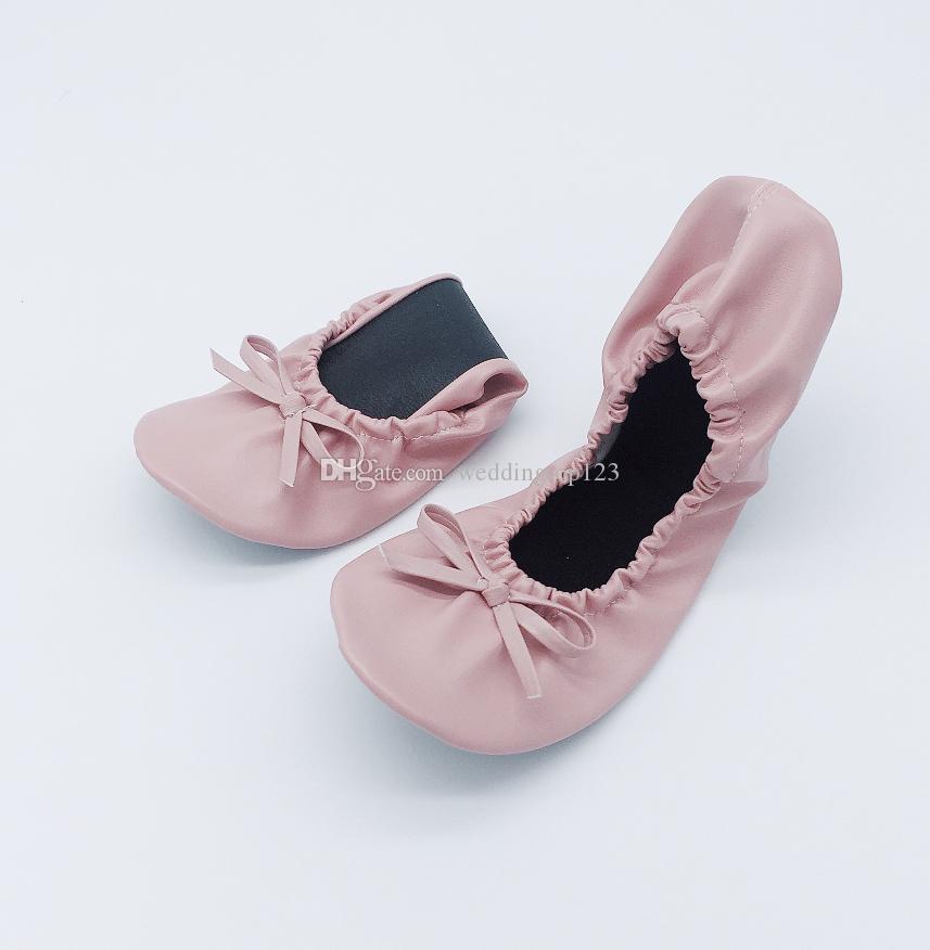 e43e49ba8f0 Compre Para Los Zapatos Plegables De La Bailarina De Las Mujeres De La Boda  De Un Par Con El Bolso De La PU A  10.16 Del Weddingtop123