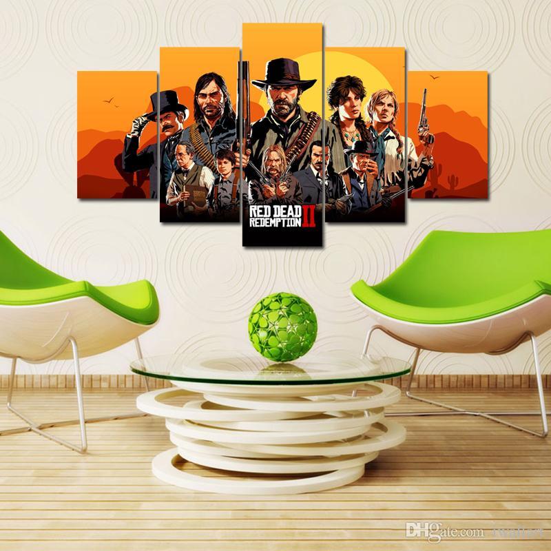 Satın Al Oyun 5 Parça Kırmızı ölü Redemption 2 Hd Tuval Posterler