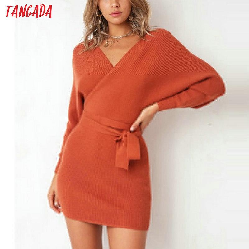 a32f854b9b83 Vestido de mujer 2019 de punto mini vestido casual otoño invierno para  mujer sexy suéter manga larga vestido de fiesta corto de lujo elegante