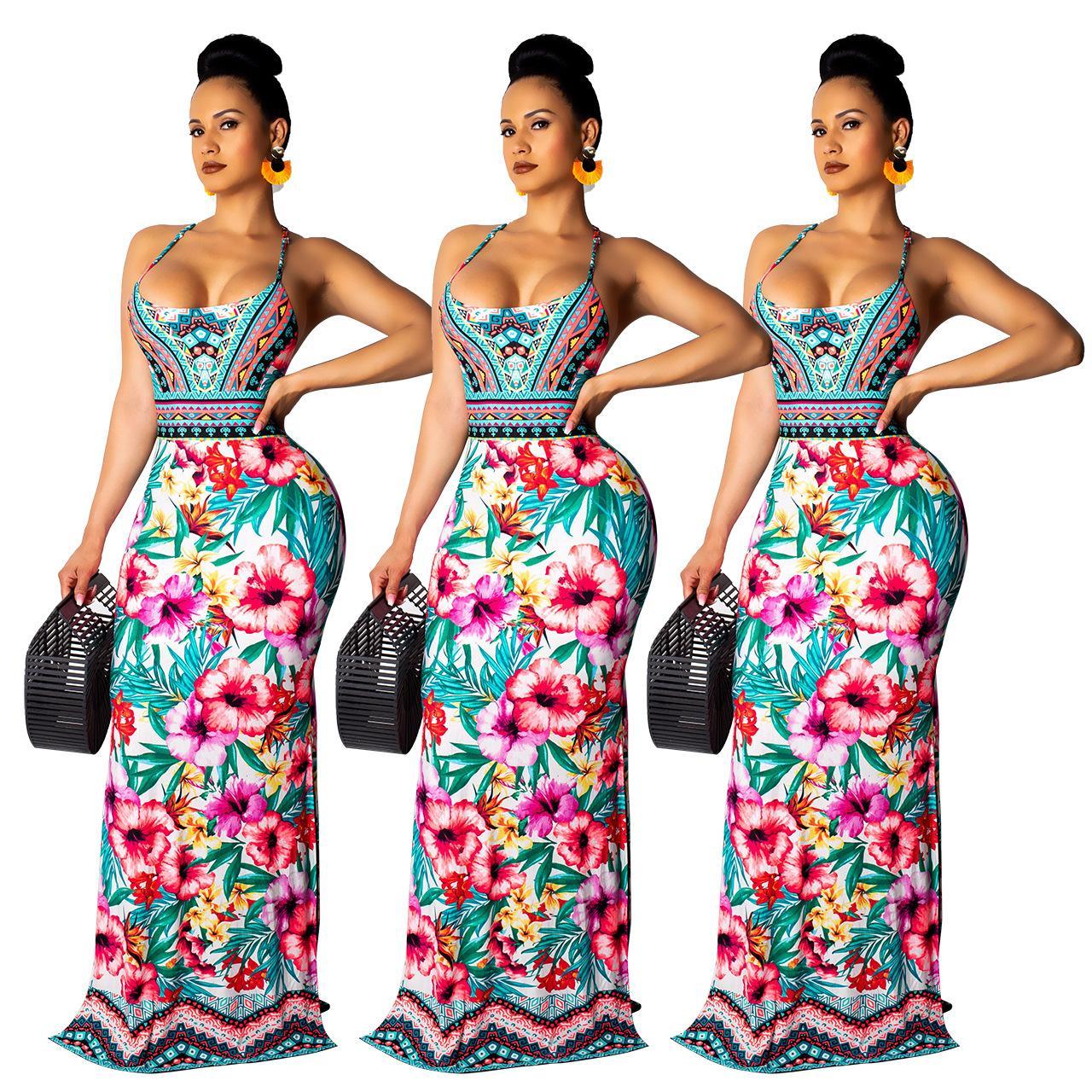 14767f40262 2019 Boho Ethnic Floral Print Maxi Dresses Women Sexy Spaghetti Straps Back  Lace Up Hollow Out Side Split Casual Beach Street Dress S 2XL Ladies Black  Dress ...