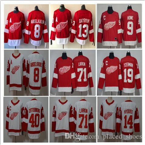 1b0e5c898 Detroit Red Wings Hockey 9 Gordie Howe 71 Larkin 13 Pavel Datsyuk 40  Zetterberg 19 Steve Yzerman 14 Gustav Nyquist Stitched Jersey S-3XL Gordie  Howe Gustav ...