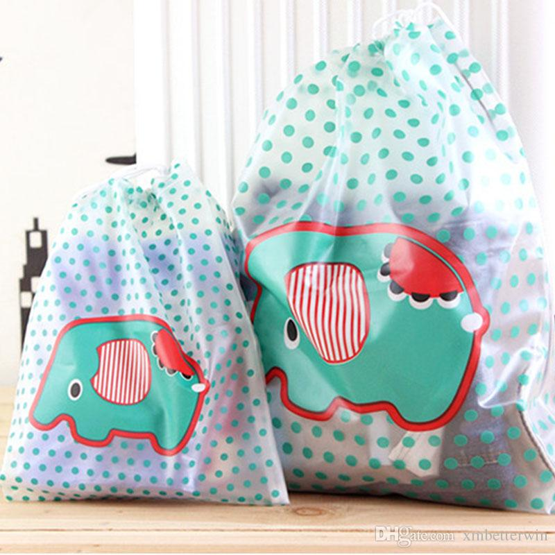 60PCS / LOT Cute Cartoon Drawstring Bags Waterproof PVC Portable Reusable Travel Pouch Wholesale Cosmetic Makeup
