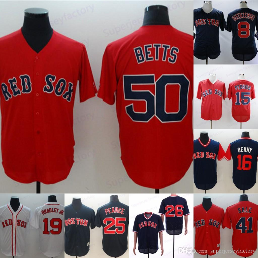 Homens 50 Mookie Betts 28 J.D. Martinez 1946 6 Pesky 8 Carl Yastzremski 16 AndrewBenintendi 26 Wade Boggs Ted Williams Baseball Jerseys