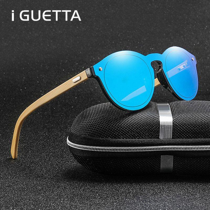 Compre IGuetta Marca Redonda Gafas De Sol Para Hombre Gafas De Bambú Marco  Lentes Coloridas Gafas De Sol Desingner Mujeres 2019 De Alta Calidad Gh 057  A ... 9d13595785d8